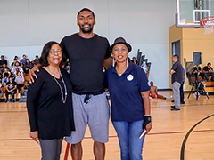 "(left to right) EWDD General Manager Jan Perry, Metta World Peace and outgoing YouthSource Director Brenda Anderson at the last ""A Conversation With…"" event"