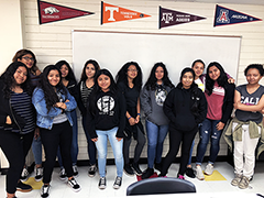 "Young women from the Para Los Niños YouthSource Centers join the recently launched ""Mujeres en Escalera"" Latina empowerment program"