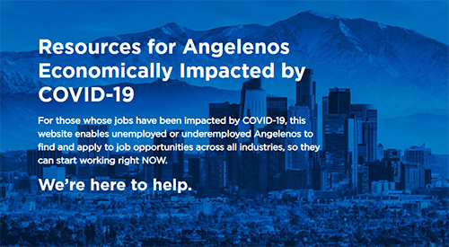 Resources for Angelenos economically impacted by COVID-19 - DTLA scape with blue overlay